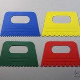 四種不同波紋橡膠刮板 ,可在陶板或坯體上製造效果與質感。